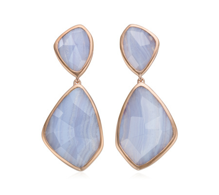 Rose Gold Siren Cocktail Earrings Blue Lace Agate - predominant colour: pale blue; secondary colour: gold; occasions: evening, occasion; style: drop; length: mid; size: standard; material: chain/metal; fastening: pierced; finish: plain; embellishment: jewels/stone; season: a/w 2015; wardrobe: event