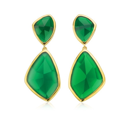 Gold Siren Cocktail Earrings Green Onyx - predominant colour: emerald green; secondary colour: gold; occasions: evening, occasion; style: drop; length: mid; size: large/oversized; material: chain/metal; fastening: pierced; finish: metallic; embellishment: jewels/stone; season: a/w 2015; wardrobe: event