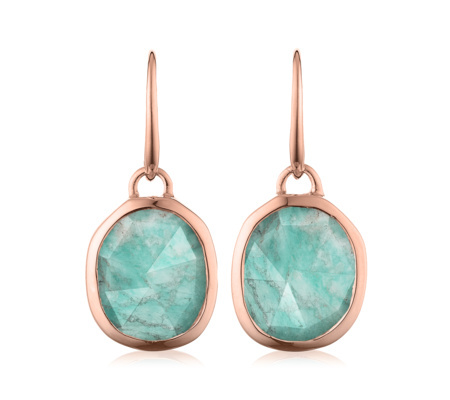 Rose Gold Siren Wire Earrings Amazonite - predominant colour: turquoise; secondary colour: gold; occasions: evening, occasion; style: drop; length: mid; size: standard; material: chain/metal; fastening: pierced; finish: metallic; embellishment: jewels/stone; season: a/w 2015; wardrobe: event