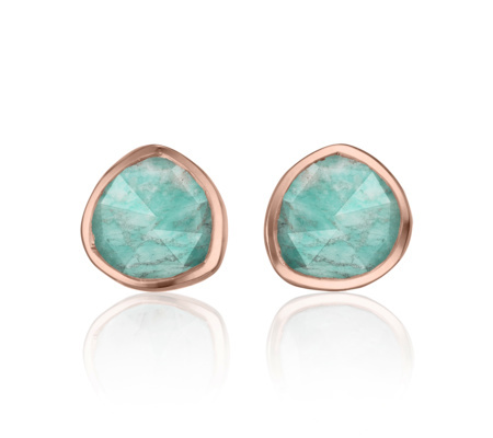 Rose Gold Vermeil Siren Stud Earrings Amazonite - predominant colour: turquoise; secondary colour: gold; occasions: evening, occasion; style: stud; length: short; size: small/fine; material: chain/metal; fastening: pierced; finish: metallic; embellishment: jewels/stone; season: a/w 2015; wardrobe: event