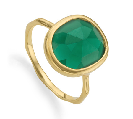 Gold Vermeil Siren Medium Stacking Ring Green Onyx - predominant colour: emerald green; secondary colour: gold; occasions: evening, occasion, creative work; style: cocktail; size: standard; material: chain/metal; finish: metallic; embellishment: jewels/stone; season: a/w 2015; wardrobe: highlight
