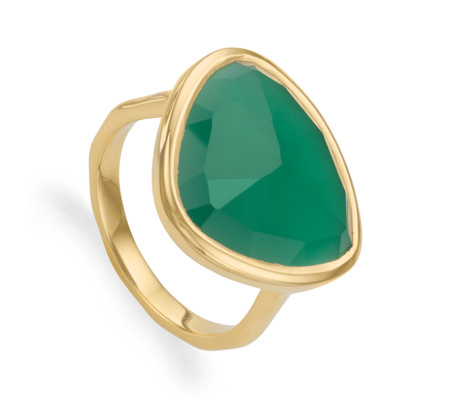 Gold Vermeil Siren Ring Green Onyx - predominant colour: emerald green; secondary colour: gold; occasions: evening, occasion, creative work; style: cocktail; size: standard; material: chain/metal; finish: metallic; embellishment: jewels/stone; season: a/w 2015; wardrobe: highlight