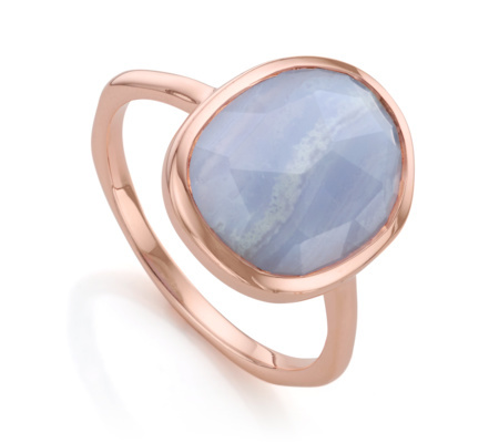 Rose Gold Vermeil Siren Medium Stacking Ring Blue Lace Agate - predominant colour: pale blue; secondary colour: gold; occasions: evening, occasion, creative work; style: cocktail; size: standard; material: chain/metal; finish: metallic; embellishment: jewels/stone; season: a/w 2015; wardrobe: highlight