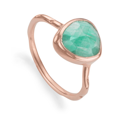 Rose Gold Vermeil Siren Stacking Ring Amazonite - predominant colour: pistachio; secondary colour: gold; occasions: evening, occasion, creative work; style: cocktail; size: large/oversized; material: chain/metal; finish: metallic; embellishment: jewels/stone; season: a/w 2015