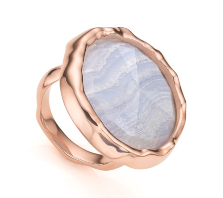Rose Gold Vermeil Siren Cocktail Round Ring Blue Lace Agate - predominant colour: gold; secondary colour: gold; occasions: evening, occasion, creative work; style: cocktail; size: large/oversized; material: chain/metal; finish: metallic; embellishment: jewels/stone; season: a/w 2015