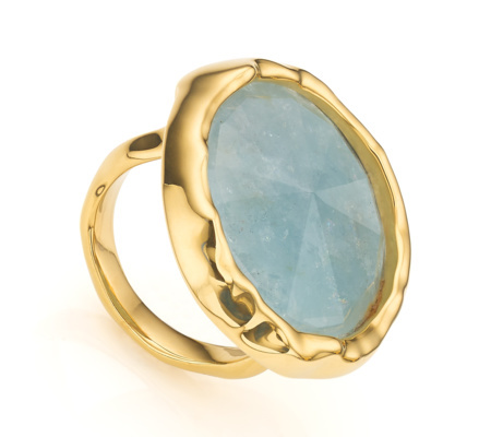 Gold Siren Cocktail Round Ring Aquamarine - predominant colour: denim; secondary colour: gold; occasions: evening, occasion, creative work; style: cocktail; size: large/oversized; material: chain/metal; finish: metallic; embellishment: jewels/stone; season: a/w 2015; wardrobe: highlight
