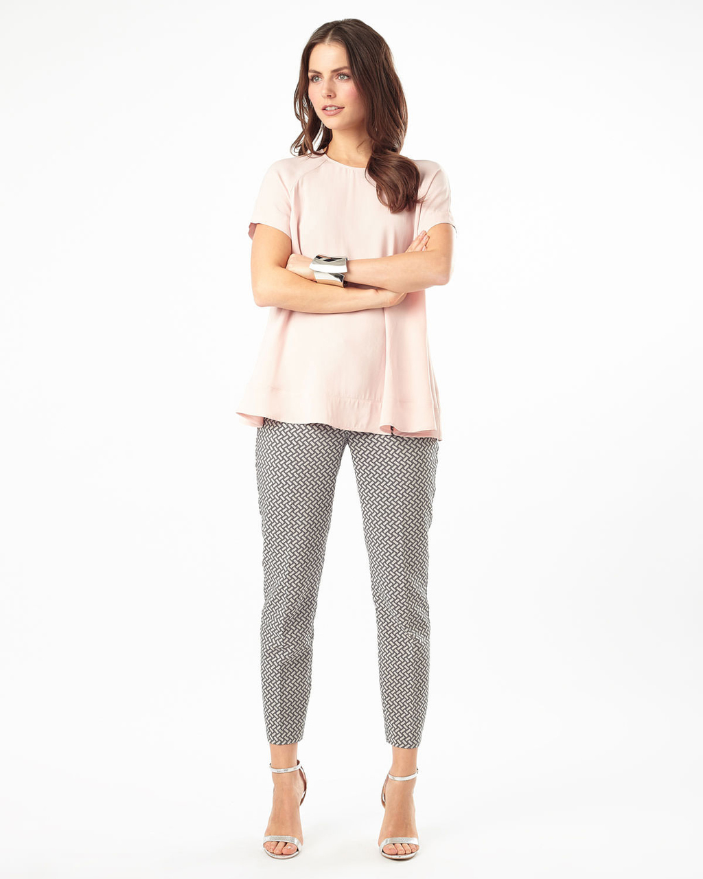 Erica Basketweave Trouser - pattern: plain; waist: mid/regular rise; secondary colour: ivory/cream; predominant colour: light grey; length: ankle length; fibres: polyester/polyamide - mix; fit: slim leg; pattern type: fabric; texture group: brocade/jacquard; style: standard; occasions: creative work; season: a/w 2015; wardrobe: basic