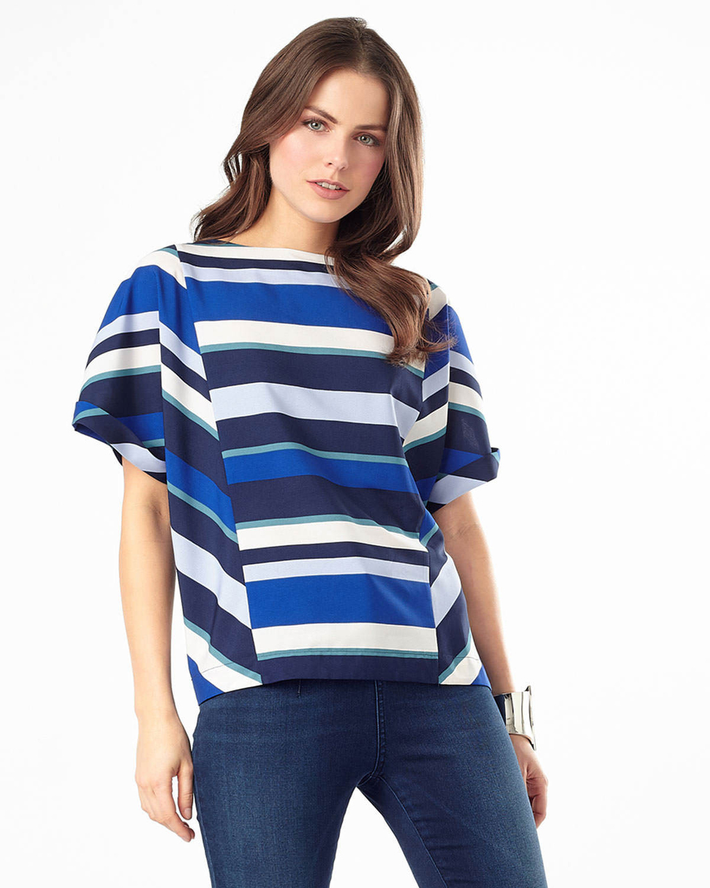 Frida Stripe Blouse - neckline: slash/boat neckline; sleeve style: capped; pattern: striped; secondary colour: white; predominant colour: royal blue; occasions: casual, creative work; length: standard; style: top; fibres: polyester/polyamide - 100%; fit: straight cut; sleeve length: short sleeve; pattern type: fabric; pattern size: standard; texture group: woven light midweight; multicoloured: multicoloured; season: a/w 2015; wardrobe: highlight