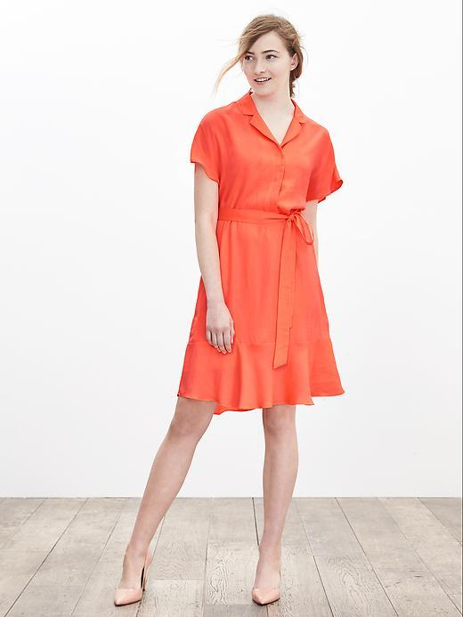 Belted Flounce Shirtdress Neon Coral Volt - style: shirt; neckline: shirt collar/peter pan/zip with opening; fit: fitted at waist; pattern: plain; waist detail: belted waist/tie at waist/drawstring; predominant colour: coral; length: just above the knee; fibres: polyester/polyamide - 100%; sleeve length: short sleeve; sleeve style: standard; pattern type: fabric; texture group: other - light to midweight; occasions: creative work; season: a/w 2015; wardrobe: highlight
