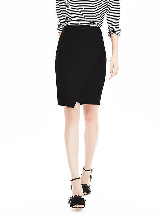 Sloan Fit Crossover Pencil Skirt Black - pattern: plain; style: pencil; fit: tailored/fitted; waist: high rise; predominant colour: black; occasions: work; length: just above the knee; fibres: cotton - mix; texture group: cotton feel fabrics; pattern type: fabric; season: a/w 2015; wardrobe: basic