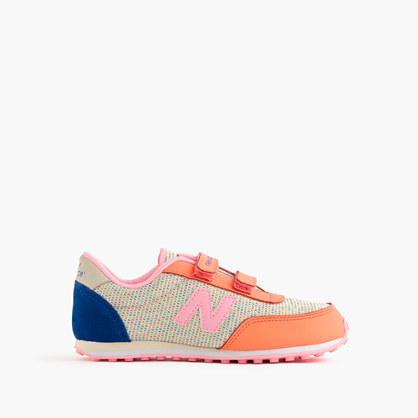Kids' New Balance® For Crewcuts 410 Sneakers In Pink - secondary colour: royal blue; predominant colour: coral; occasions: casual; material: fabric; heel height: flat; toe: round toe; style: trainers; finish: plain; pattern: colourblock; shoe detail: tread; season: a/w 2015; wardrobe: highlight