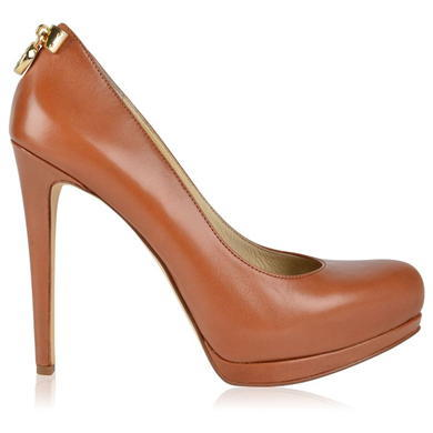 Hamilton Grained Leather Court Shoes - predominant colour: tan; occasions: evening, occasion; material: leather; heel: stiletto; toe: round toe; style: courts; finish: plain; pattern: plain; heel height: very high; shoe detail: platform; season: a/w 2015; wardrobe: event