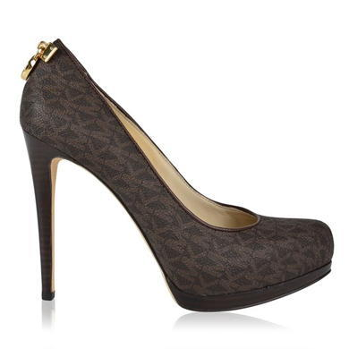 Hamilton Monogram Court Shoes - predominant colour: black; occasions: evening, occasion; material: fabric; heel: stiletto; toe: round toe; style: courts; finish: plain; pattern: patterned/print; heel height: very high; shoe detail: platform; season: a/w 2015