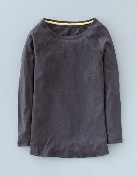 Long Lightweight Baseball Tee Charcoal Women, Charcoal - neckline: round neck; pattern: plain; style: t-shirt; predominant colour: charcoal; occasions: casual; length: standard; fibres: cotton - 100%; fit: body skimming; sleeve length: long sleeve; sleeve style: standard; pattern type: fabric; texture group: jersey - stretchy/drapey; season: a/w 2015; wardrobe: basic