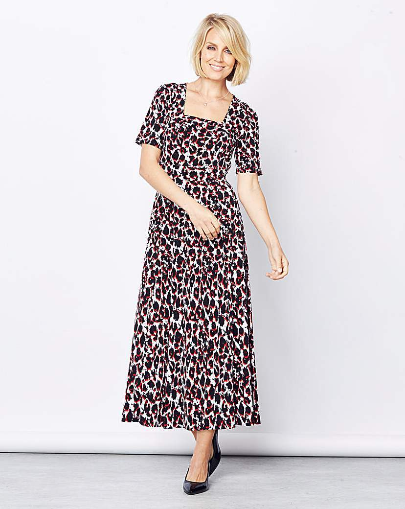 Print Square Neck Jersey Dress L48 - length: ankle length; waist detail: fitted waist; secondary colour: white; predominant colour: black; fit: fitted at waist & bust; style: fit & flare; fibres: polyester/polyamide - stretch; hip detail: soft pleats at hip/draping at hip/flared at hip; sleeve length: half sleeve; sleeve style: standard; neckline: medium square neck; pattern type: fabric; pattern size: standard; pattern: patterned/print; texture group: jersey - stretchy/drapey; occasions: creative work; multicoloured: multicoloured; season: a/w 2015; wardrobe: highlight
