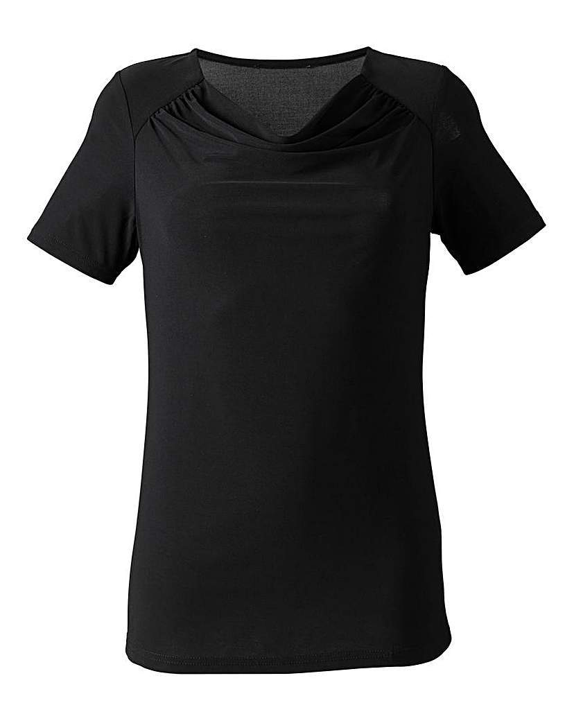 Plain Cowl Neck Ity Top - neckline: cowl/draped neck; pattern: plain; predominant colour: black; occasions: casual; length: standard; style: top; fibres: polyester/polyamide - stretch; fit: body skimming; sleeve length: short sleeve; sleeve style: standard; pattern type: fabric; texture group: jersey - stretchy/drapey; season: a/w 2015; wardrobe: basic