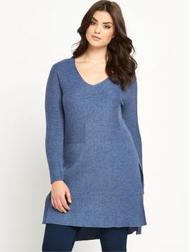 Rib Split Side Tunic Jumper - neckline: v-neck; pattern: plain; style: tunic; predominant colour: denim; occasions: casual; fibres: acrylic - 100%; fit: loose; length: mid thigh; sleeve length: long sleeve; sleeve style: standard; texture group: knits/crochet; pattern type: knitted - fine stitch; season: s/s 2016; wardrobe: highlight; trends: knit list