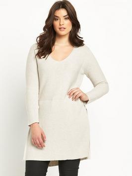Rib Split Side Tunic Jumper - neckline: v-neck; pattern: plain; style: tunic; predominant colour: ivory/cream; occasions: casual; fibres: acrylic - 100%; fit: loose; length: mid thigh; sleeve length: long sleeve; sleeve style: standard; texture group: knits/crochet; pattern type: knitted - fine stitch; season: s/s 2016; wardrobe: basic; trends: knit list