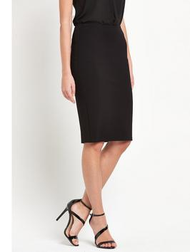 Ponte Pencil Skirt - pattern: plain; style: pencil; fit: tight; waist: mid/regular rise; predominant colour: black; occasions: evening; length: on the knee; fibres: polyester/polyamide - 100%; texture group: crepes; pattern type: fabric; season: s/s 2016; wardrobe: event
