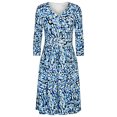 Monet Spot Dress - style: a-line; length: below the knee; neckline: v-neck; secondary colour: royal blue; predominant colour: diva blue; fit: soft a-line; fibres: viscose/rayon - stretch; hip detail: soft pleats at hip/draping at hip/flared at hip; sleeve length: 3/4 length; sleeve style: standard; pattern type: fabric; pattern size: big & busy; pattern: patterned/print; texture group: other - light to midweight; occasions: creative work; multicoloured: multicoloured; season: s/s 2016