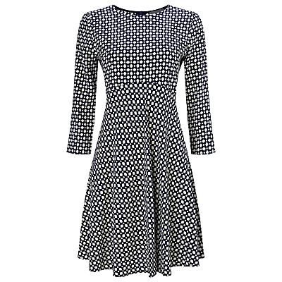 Yasmin Geo Print Dress, Black/Stone - pattern: polka dot; secondary colour: white; predominant colour: black; occasions: casual; length: on the knee; fit: fitted at waist & bust; style: fit & flare; fibres: viscose/rayon - stretch; neckline: crew; sleeve length: 3/4 length; sleeve style: standard; pattern type: fabric; texture group: jersey - stretchy/drapey; multicoloured: multicoloured; season: s/s 2016; wardrobe: highlight