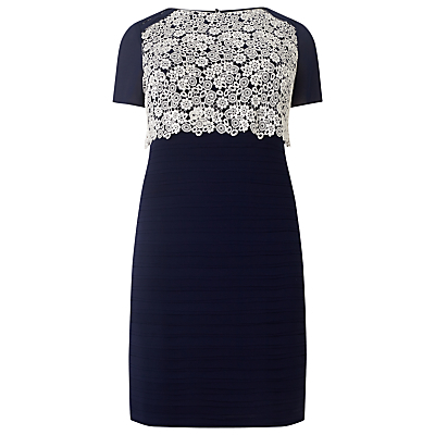 Lucia Contrast Lace Dress, Navy - style: shift; fit: tailored/fitted; secondary colour: white; predominant colour: navy; occasions: evening; length: on the knee; fibres: polyester/polyamide - 100%; neckline: crew; sleeve length: short sleeve; sleeve style: standard; texture group: crepes; pattern type: fabric; pattern size: standard; pattern: patterned/print; embellishment: lace; season: s/s 2016; wardrobe: event; embellishment location: bust