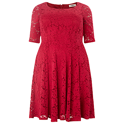 Viola Lace Dress, Raspberry - neckline: round neck; occasions: evening, occasion; length: on the knee; fit: fitted at waist & bust; style: fit & flare; fibres: polyester/polyamide - stretch; hip detail: subtle/flattering hip detail; sleeve length: half sleeve; sleeve style: standard; texture group: lace; pattern type: fabric; pattern size: standard; pattern: patterned/print; predominant colour: raspberry; season: s/s 2016; wardrobe: event