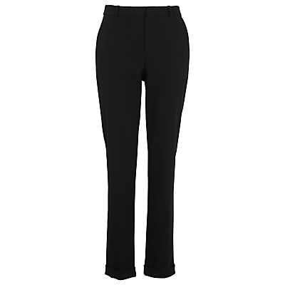 Sadie Straight Leg Trousers, Black - length: standard; pattern: plain; waist: high rise; predominant colour: black; occasions: work; fibres: cotton - stretch; texture group: cotton feel fabrics; fit: straight leg; pattern type: fabric; style: standard; season: s/s 2016; wardrobe: basic