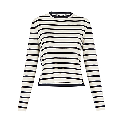 Stripe Crop Knit Jumper, Blue/White - pattern: horizontal stripes; style: standard; secondary colour: white; predominant colour: royal blue; occasions: casual; length: standard; fibres: cotton - mix; fit: standard fit; neckline: crew; sleeve length: long sleeve; sleeve style: standard; texture group: knits/crochet; pattern type: knitted - fine stitch; pattern size: standard; season: s/s 2016; wardrobe: highlight