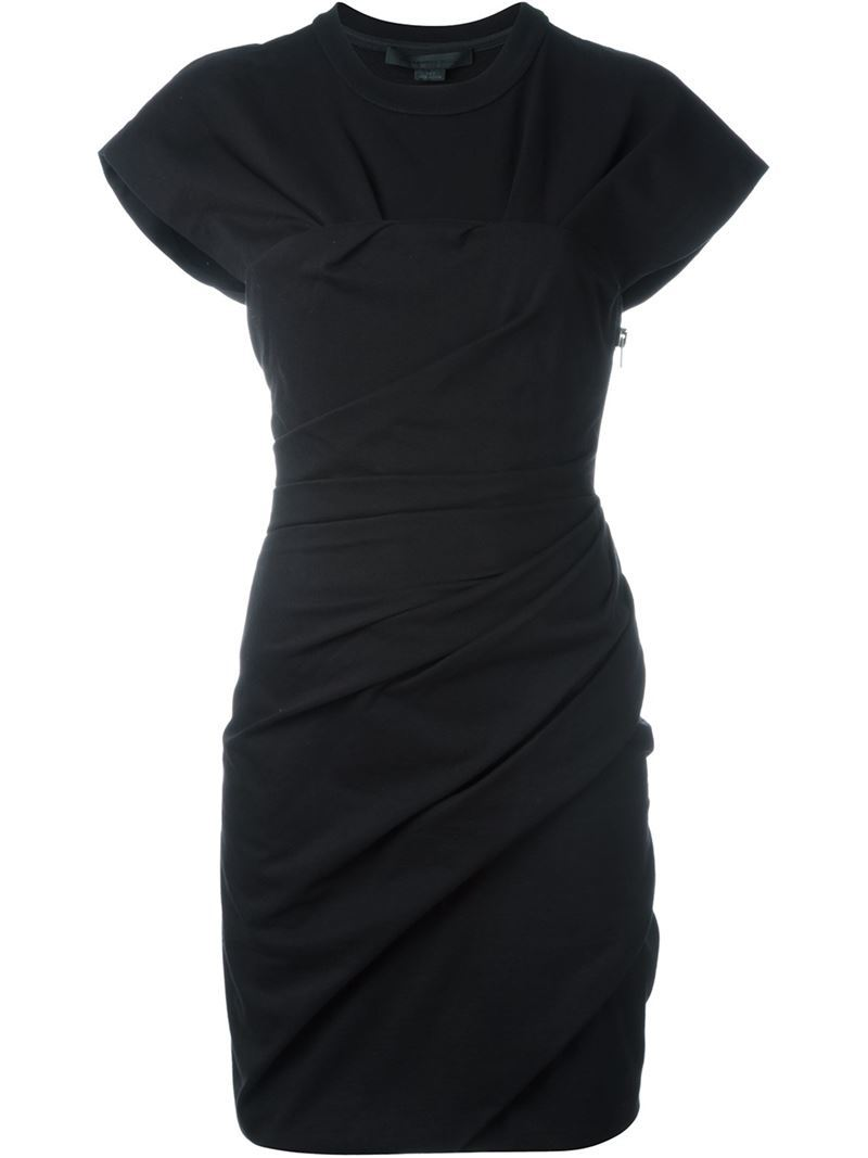 Draped Mini Dress, Women's, Black - style: shift; pattern: plain; predominant colour: black; occasions: evening, occasion; length: just above the knee; fit: body skimming; fibres: cotton - stretch; neckline: crew; sleeve length: short sleeve; sleeve style: standard; pattern type: fabric; texture group: jersey - stretchy/drapey; season: a/w 2015; wardrobe: event