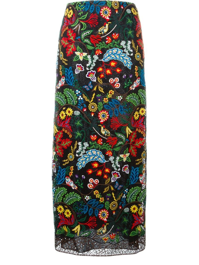 'water Song' Macrame Skirt, Women's - length: calf length; style: straight; waist: high rise; predominant colour: true red; secondary colour: navy; fibres: silk - mix; fit: straight cut; pattern type: fabric; pattern: florals; texture group: other - light to midweight; occasions: creative work; pattern size: big & busy (bottom); multicoloured: multicoloured; season: a/w 2015; trends: crazy prints; wardrobe: highlight