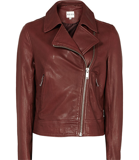 Ocean Leather Biker Jacket - pattern: plain; style: biker; collar: asymmetric biker; predominant colour: burgundy; occasions: casual, evening, creative work; length: standard; fit: tailored/fitted; fibres: leather - 100%; sleeve length: long sleeve; sleeve style: standard; texture group: leather; collar break: medium; pattern type: fabric; season: a/w 2015; wardrobe: highlight