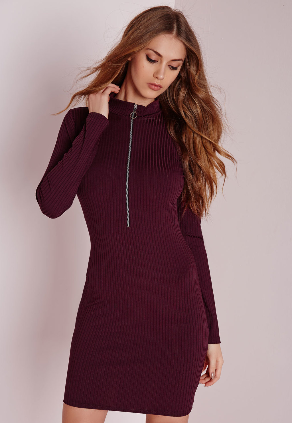 Long Sleeve Ribbed Zip Neck Bodycon Dress Burgundy, Burgundy - style: shift; length: mid thigh; fit: tight; pattern: plain; neckline: high neck; predominant colour: burgundy; occasions: evening; fibres: polyester/polyamide - stretch; sleeve length: long sleeve; sleeve style: standard; texture group: knits/crochet; pattern type: fabric; embellishment: zips; season: a/w 2015; wardrobe: event