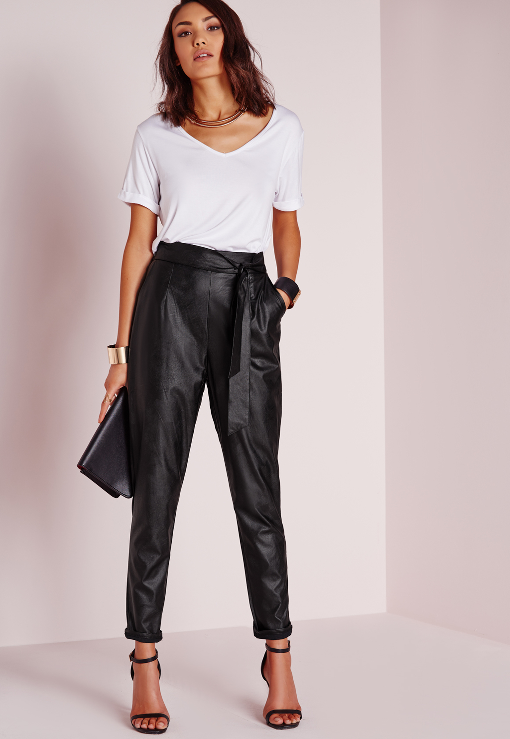 Tie Waist Faux Leather Pegged Leg Trousers Black, Black - length: standard; pattern: plain; style: peg leg; hip detail: front pockets at hip; waist: high rise; pocket detail: pockets at the sides; predominant colour: black; fibres: polyester/polyamide - 100%; texture group: leather; fit: tapered; pattern type: fabric; occasions: creative work; season: a/w 2015; wardrobe: highlight