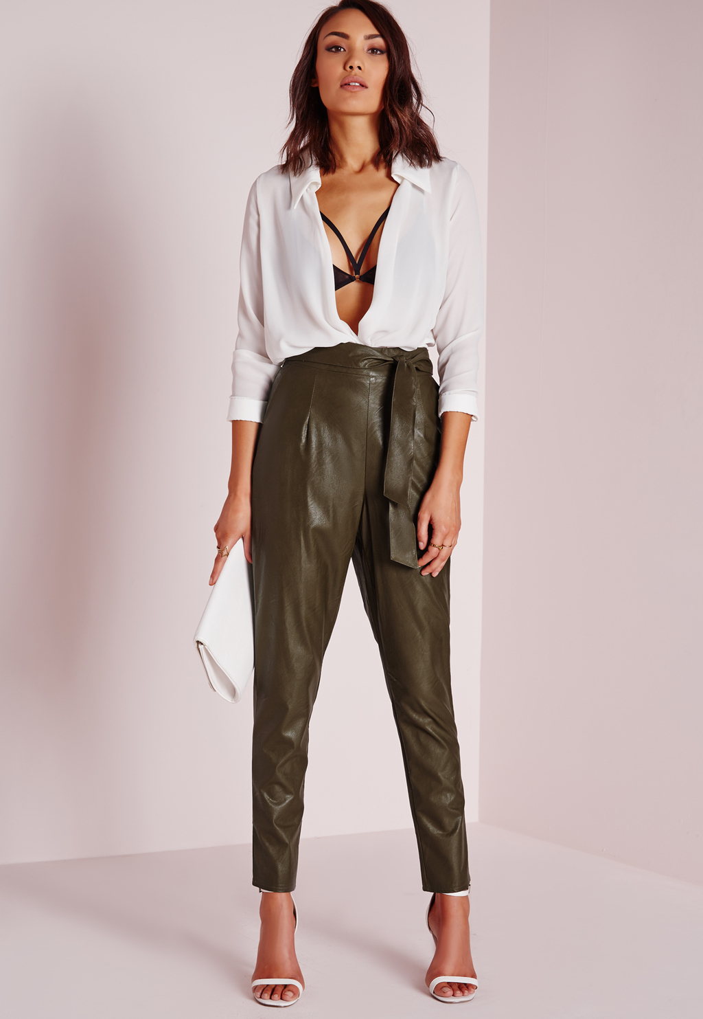 Tie Waist Faux Leather Pegged Leg Trouser Khaki, Beige - length: standard; pattern: plain; style: peg leg; waist: high rise; pocket detail: pockets at the sides; waist detail: belted waist/tie at waist/drawstring; predominant colour: khaki; texture group: leather; fit: tapered; pattern type: fabric; fibres: pvc/polyurethene - 100%; occasions: creative work; season: a/w 2015