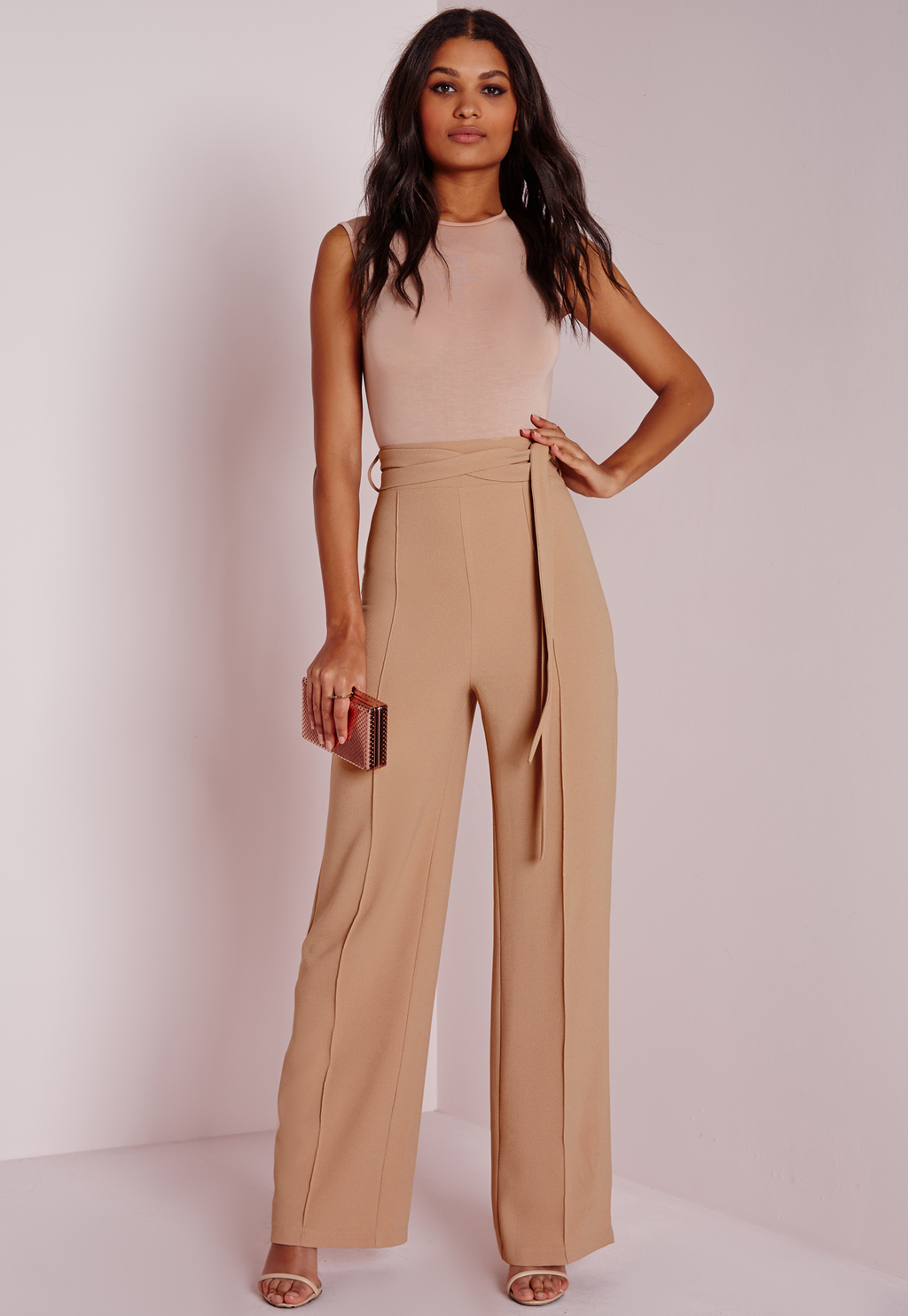 Petite Tie Waist Crepe Wide Leg Trousers Camel, Beige - length: standard; pattern: plain; style: palazzo; waist: high rise; waist detail: belted waist/tie at waist/drawstring; predominant colour: stone; fibres: cotton - stretch; occasions: occasion; texture group: crepes; fit: wide leg; pattern type: fabric; season: a/w 2015; wardrobe: event