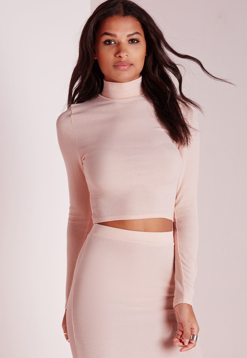 Petite High Neck Long Sleeve Ribbed Crop Top Nude, Beige - pattern: plain; neckline: roll neck; predominant colour: nude; occasions: casual, evening; length: standard; style: top; fibres: cotton - stretch; fit: body skimming; sleeve length: long sleeve; sleeve style: standard; pattern type: fabric; texture group: jersey - stretchy/drapey; season: a/w 2015; wardrobe: basic