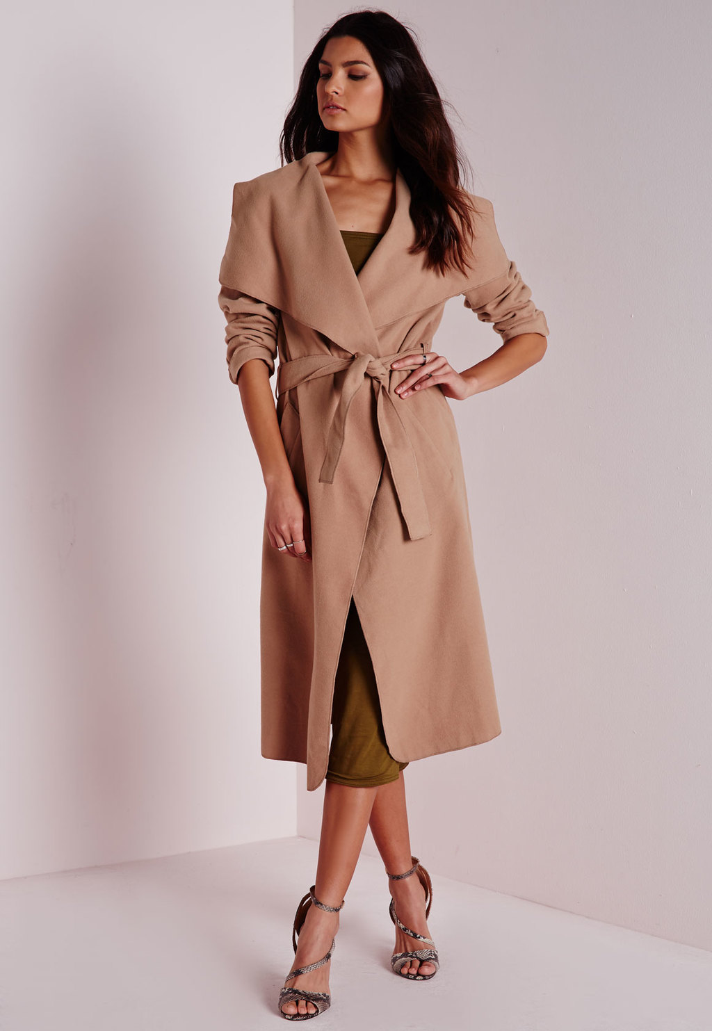Petite Belted Waterfall Coat Camel, Beige - pattern: plain; collar: shawl/waterfall; style: wrap around; predominant colour: camel; occasions: work; fit: tailored/fitted; fibres: polyester/polyamide - mix; length: below the knee; hip detail: subtle/flattering hip detail; waist detail: belted waist/tie at waist/drawstring; sleeve length: long sleeve; sleeve style: standard; collar break: medium; pattern type: fabric; texture group: woven bulky/heavy; season: a/w 2015; wardrobe: investment