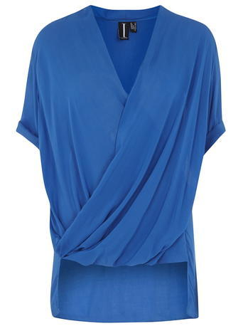 Womens **Izabel London Blue Cross Over Top Blue - neckline: v-neck; sleeve style: dolman/batwing; pattern: plain; style: blouse; predominant colour: diva blue; occasions: evening; length: standard; fibres: viscose/rayon - 100%; fit: loose; back detail: longer hem at back than at front; sleeve length: half sleeve; texture group: crepes; pattern type: fabric; season: a/w 2015