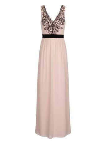 Womens **Little Mistress Nude And Black V Neck Maxi Dress Black - neckline: low v-neck; sleeve style: sleeveless; style: maxi dress; length: ankle length; bust detail: added detail/embellishment at bust; predominant colour: nude; fit: fitted at waist & bust; fibres: polyester/polyamide - 100%; occasions: occasion; hip detail: soft pleats at hip/draping at hip/flared at hip; waist detail: narrow waistband; sleeve length: sleeveless; pattern type: fabric; pattern size: standard; pattern: patterned/print; texture group: other - light to midweight; embellishment: lace; season: a/w 2015; wardrobe: event