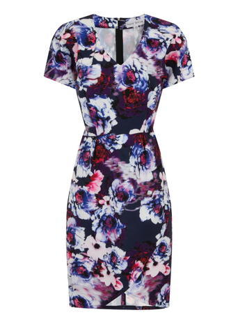 Womens *Paper Dolls Printed Short Sleeve Dress Blue - style: shift; length: mid thigh; neckline: low v-neck; fit: tailored/fitted; secondary colour: burgundy; predominant colour: navy; fibres: polyester/polyamide - 100%; occasions: occasion; sleeve length: short sleeve; sleeve style: standard; pattern type: fabric; pattern: florals; texture group: other - light to midweight; multicoloured: multicoloured; season: a/w 2015; wardrobe: event
