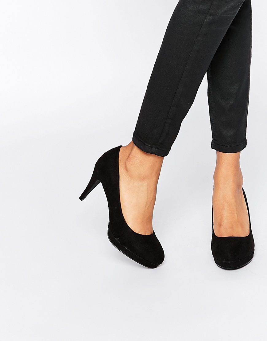 Court Shoe Black - predominant colour: black; occasions: evening, work, occasion; material: suede; heel height: high; heel: stiletto; toe: pointed toe; style: courts; finish: plain; pattern: plain; season: a/w 2015