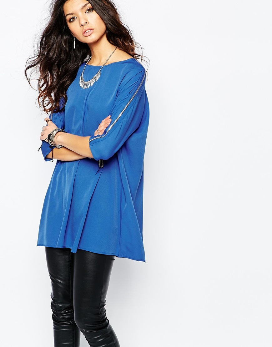 Tunic With Zip Sleeve Blue - neckline: slash/boat neckline; sleeve style: dolman/batwing; pattern: plain; length: below the bottom; style: tunic; predominant colour: diva blue; occasions: casual; fibres: polyester/polyamide - 100%; fit: loose; sleeve length: 3/4 length; texture group: silky - light; pattern type: fabric; season: a/w 2015; wardrobe: highlight