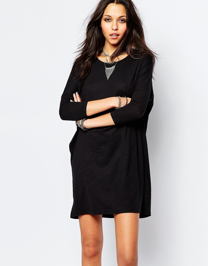 Abia Drape Dress Black - style: t-shirt; length: mid thigh; neckline: slash/boat neckline; fit: loose; pattern: plain; predominant colour: black; occasions: casual, creative work; fibres: polyester/polyamide - mix; sleeve length: long sleeve; sleeve style: standard; pattern type: fabric; texture group: other - light to midweight; season: a/w 2015