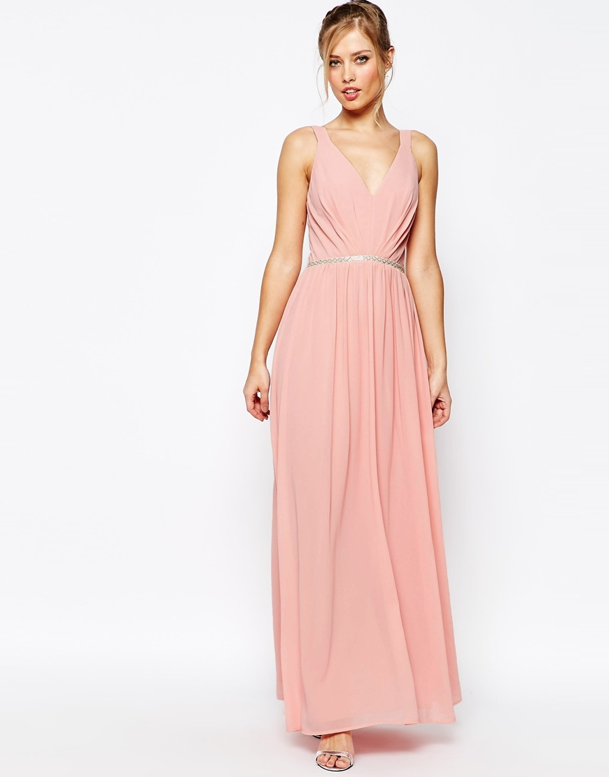 V Neck Maxi Dress In Chiffon With Embellished Waist Rosebud Pink - neckline: low v-neck; pattern: plain; sleeve style: sleeveless; style: maxi dress; length: ankle length; waist detail: fitted waist; predominant colour: pink; fit: fitted at waist & bust; fibres: polyester/polyamide - 100%; occasions: occasion; sleeve length: sleeveless; texture group: sheer fabrics/chiffon/organza etc.; pattern type: fabric; season: a/w 2015; wardrobe: event