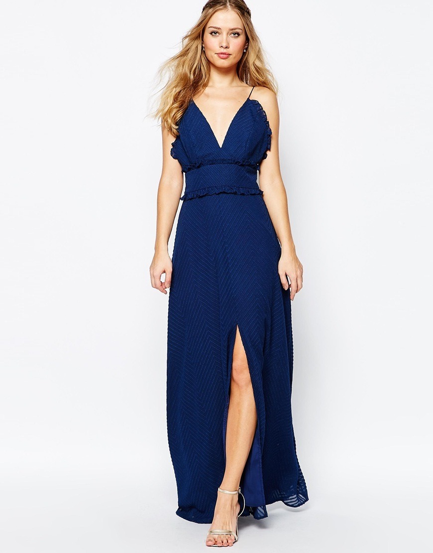 V Front Maxi Dress With Frill Detail And Center Split Navy - neckline: low v-neck; sleeve style: spaghetti straps; pattern: plain; style: maxi dress; predominant colour: navy; occasions: evening, occasion; length: floor length; fit: body skimming; fibres: polyester/polyamide - 100%; sleeve length: sleeveless; pattern type: fabric; texture group: jersey - stretchy/drapey; season: a/w 2015; wardrobe: event