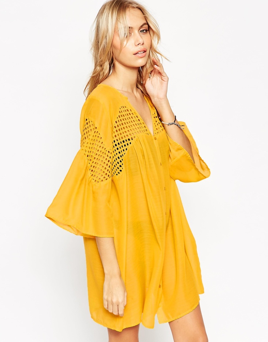 V Neck Corded Lace Button Front Smock Beach Dress Mustard - style: smock; length: mid thigh; neckline: low v-neck; sleeve style: angel/waterfall; fit: loose; pattern: plain; predominant colour: yellow; fibres: polyester/polyamide - 100%; hip detail: soft pleats at hip/draping at hip/flared at hip; sleeve length: 3/4 length; texture group: sheer fabrics/chiffon/organza etc.; occasions: holiday; pattern type: fabric; season: a/w 2015; wardrobe: holiday
