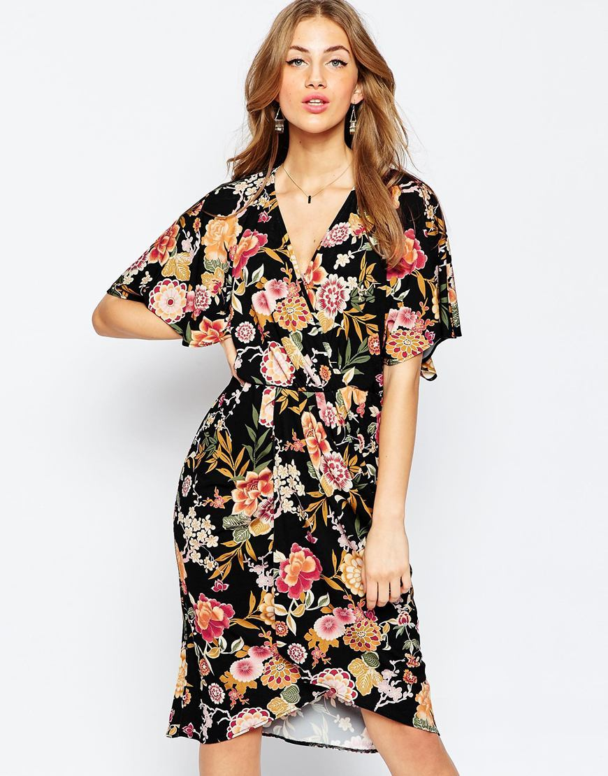 Kimono Slinky Midi Dress Print - style: faux wrap/wrap; neckline: v-neck; secondary colour: pink; predominant colour: black; occasions: evening; length: on the knee; fit: body skimming; fibres: polyester/polyamide - stretch; sleeve length: short sleeve; sleeve style: standard; texture group: jersey - clingy; pattern type: fabric; pattern: florals; multicoloured: multicoloured; season: a/w 2015; wardrobe: event