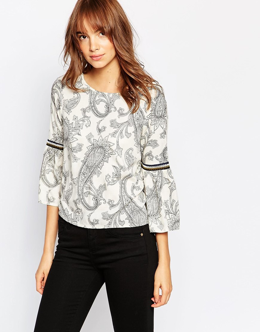Paisley Print Bell Sleeve Shell Top Moonbeam - sleeve style: bell sleeve; pattern: paisley; style: blouse; predominant colour: ivory/cream; secondary colour: black; occasions: casual, creative work; length: standard; fibres: polyester/polyamide - 100%; fit: straight cut; neckline: crew; sleeve length: 3/4 length; pattern type: fabric; pattern size: standard; texture group: woven light midweight; season: a/w 2015; wardrobe: highlight