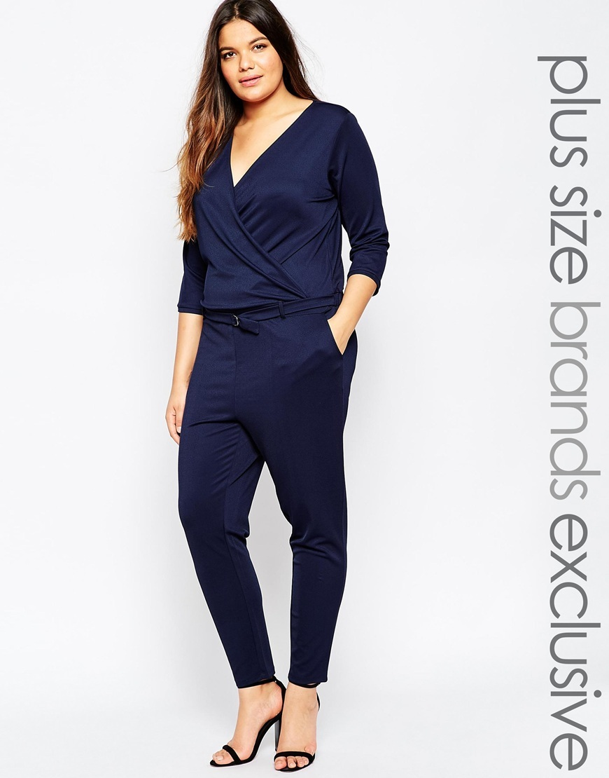 3/4 Sleeve Jumpsuit Navy - neckline: low v-neck; pattern: plain; waist detail: belted waist/tie at waist/drawstring; bust detail: ruching/gathering/draping/layers/pintuck pleats at bust; predominant colour: navy; occasions: evening; length: ankle length; fit: body skimming; fibres: polyester/polyamide - stretch; sleeve length: 3/4 length; sleeve style: standard; texture group: jersey - clingy; style: jumpsuit; pattern type: fabric; season: a/w 2015